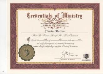 Minister of Universal Life Church_certificate